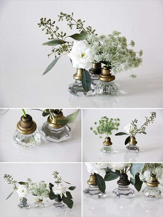 Old door knob turned bud vase for wedding reception decor. #diytutorial #weddingdetails #weddingchicks Design By: Mandy Forlenza ---> http://www.weddingchicks.com/2014/04/25/old-door-knobs-into-vases/
