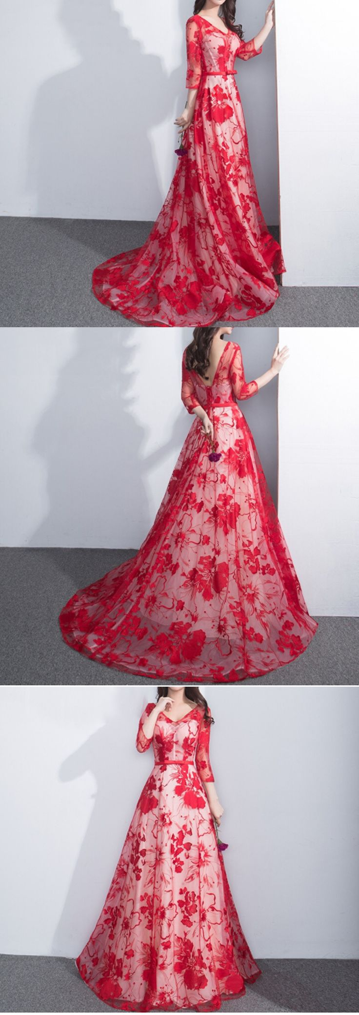 Charming See Through Red Floral Prints Lace Three-quarter Long Prom Dresses,PD00020#fashion #promdress