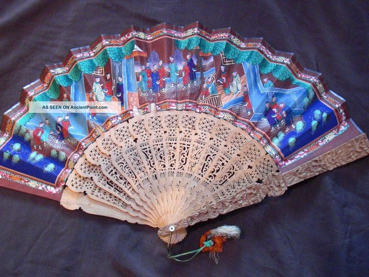 Atique Chinese Fan Handpainted I. . .  Y Faces Deeply Carved European Export Market Fans photo