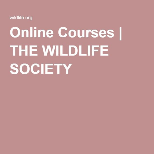 Online Courses | THE WILDLIFE SOCIETY