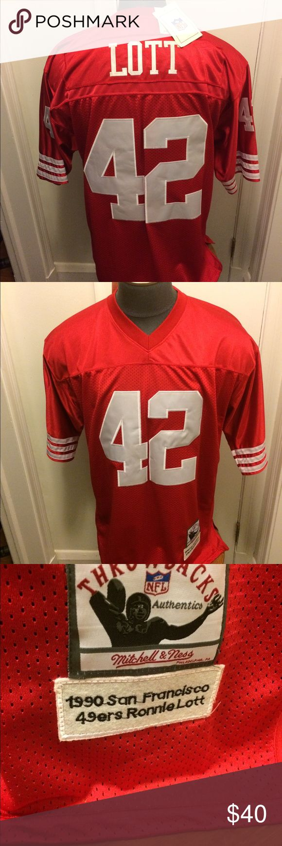 San Francisco 49ers Ronnie Lott Throwback Jersey. Size 60 brand new with tags... Mitchell & Ness Shirts