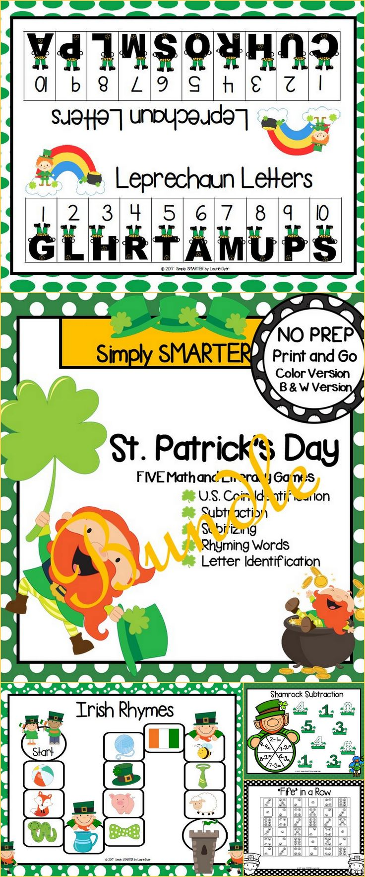 Are you looking for NO PREP literacy and math games for preschool, kindergarten, or first grade? Then download this bundle and go! Enjoy this phonics and math resource which is comprised of FIVE different ST. PATRICK'S DAY themed games complete with a color version and black and white version of each game. The games can be used for small group work, partner collaboration, or homework!