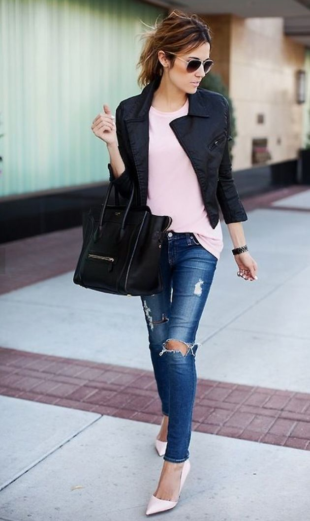 ♔ Fashion Street Style Pastel - Loving this look because the pink tones down the leather and rips, need to try this!