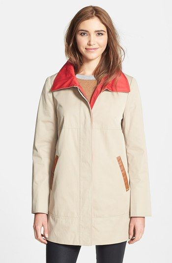 Ellen Tracy Contrast Lined A-Line Raincoat (Online Only) available at #Nordstrom