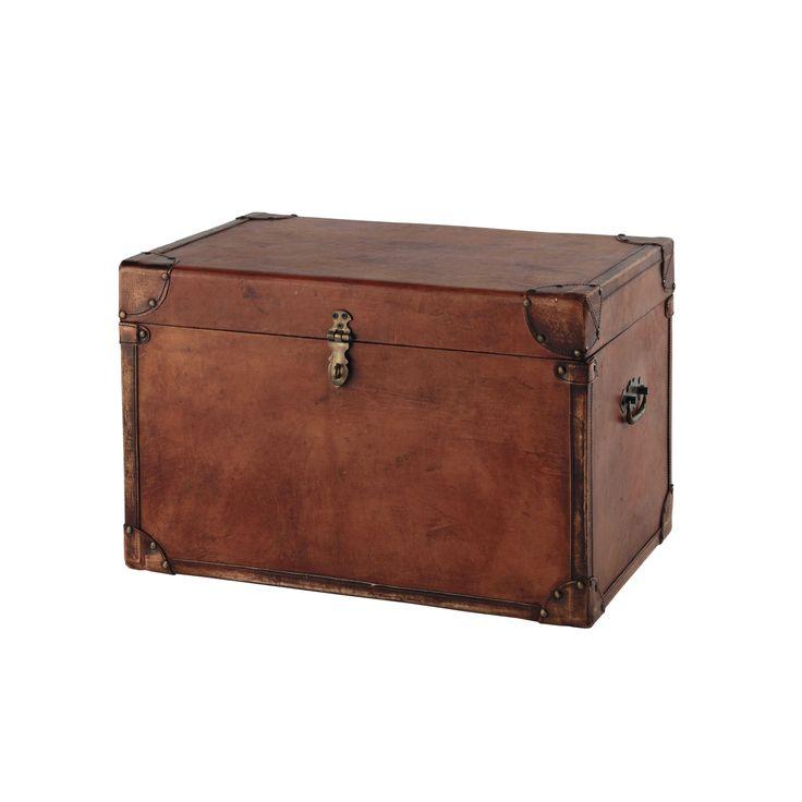 Baúl de piel de cabra marrón An. 58 cm TREVOR