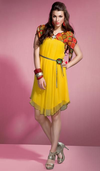 G3 Fashions Yellow georgette designer kurti  Product Code: G3-LKT300745 Price: INR RS 3290
