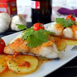 Spanish cod fish recipe with potatoes and the worldwide famous smoky sweet paprika from Spain - Spanish Food and Cuisine