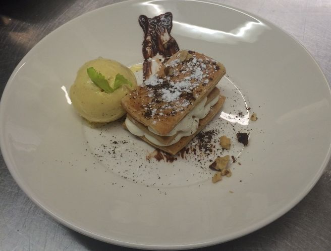 Home made #Coffee #millefeuille with vanilla ice cream - is included in our #gourmet treats and dishes from our #Gala #Dinner.  http://www.thequeensgatehotel.com