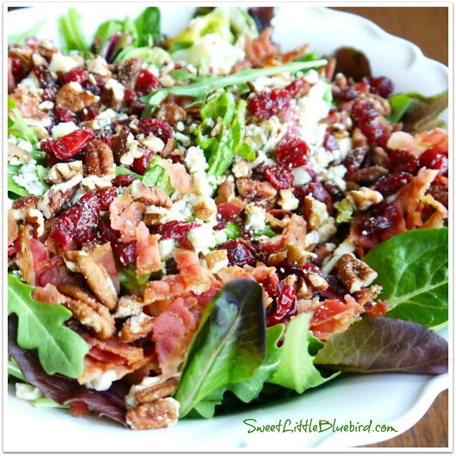 My Most Requested Salad Recipe! From Sweet Little Bluebird. Bacon, apple, pecans, dried cherries, gorgonzola and a sweet balsamic dressing. The dressing is AMAZING! I sometimes add grilled chicken! YUM!