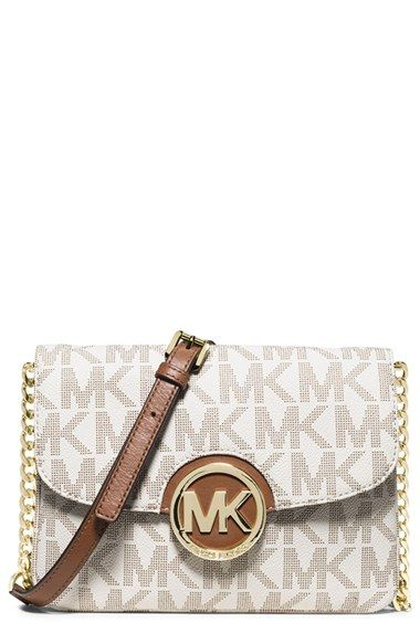 Women's MICHAEL Michael Kors 'Fulton' Flap Crossbody Bag - Ivory