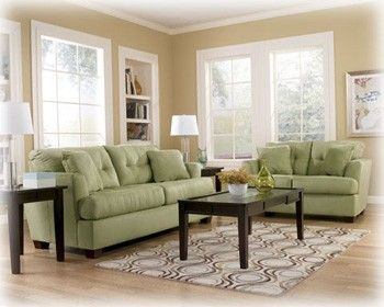 Ashley Zia Kiwi Light Green Sofa Set Simple Add Some