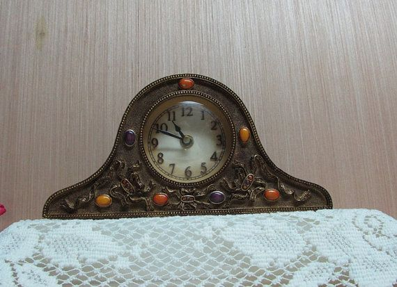 Bronze Brown Mantel Clock Decorative Stones by BusyOnBlackwood, $15.00