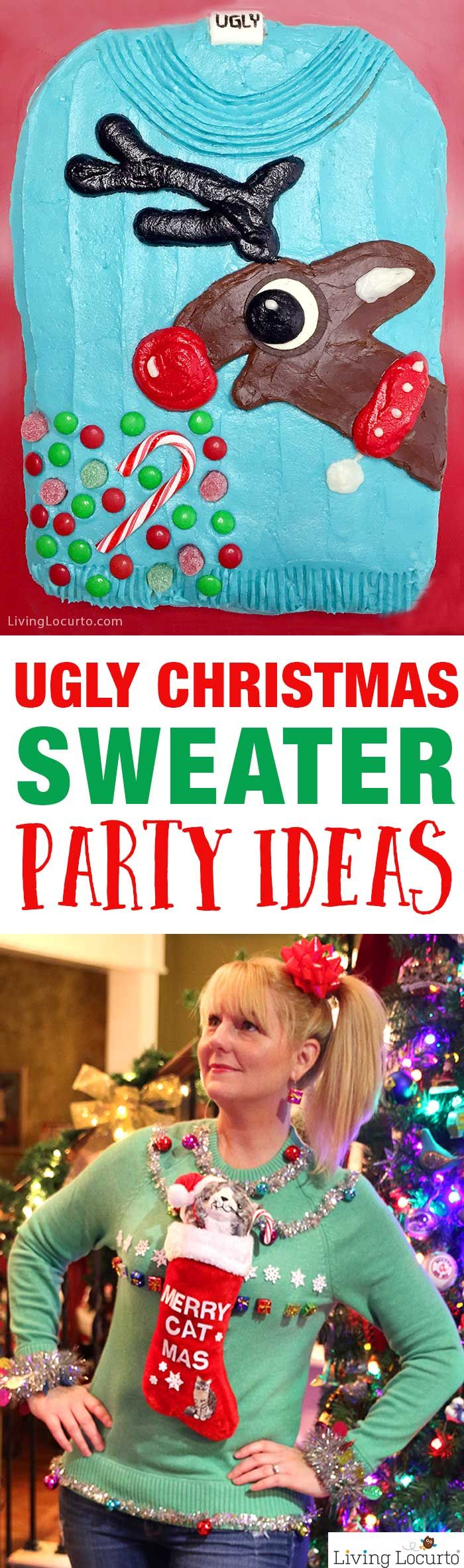 Funny Ugly Christmas Sweater Party Ideas! How to make a Reindeer Ugly Christmas Sweater Cake and more. Funny dessert recipe idea for a Tacky Ugly Christmas Sweater Party! A Reindeer Ugly Christmas Sweater Cake is an easy to make funny dessert for a Tacky Ugly Christmas Sweater Party! Rudolph vomits candy. Love this crazy cat lady sweater. LivingLocurto.com #uglychristmassweater #christmas