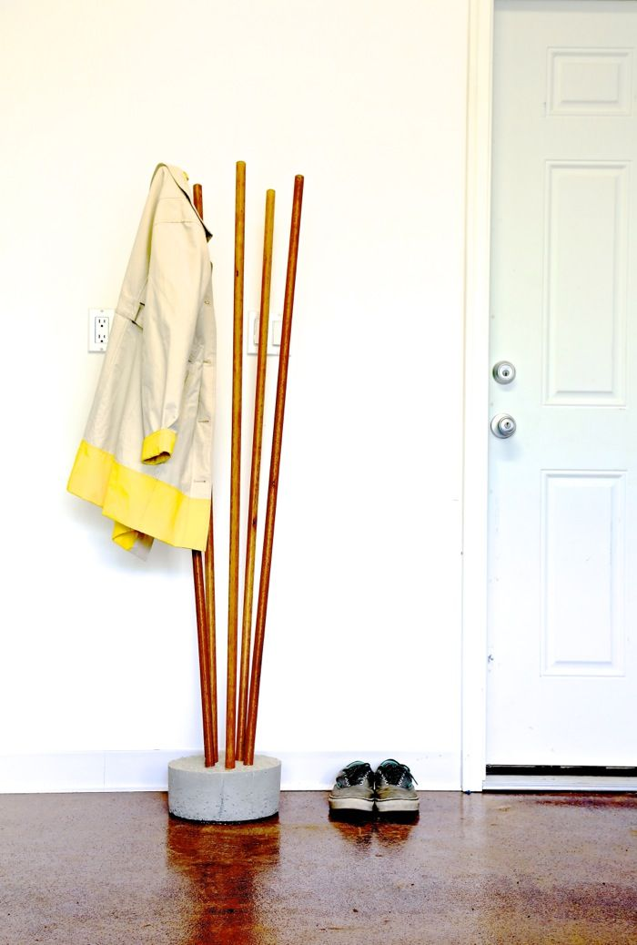Ana White | Build a Modern Concrete and Broomstick Coat Tree | Free and Easy DIY Project and Furniture Plans