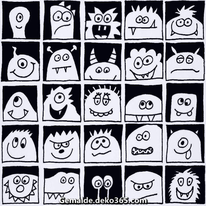 Einzigartige und Kreative Monster im Quadrat – schwarz und weiß – tahogmanwaitrose