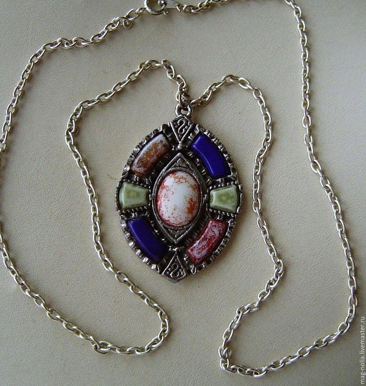 Купить Винтажный Кулон Кельтский стиль Цветное стекло 1970-е Англия - винтажные украшения