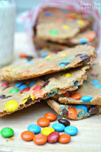 M & M Cookie Brittle - a mix between a cookie & brittle!