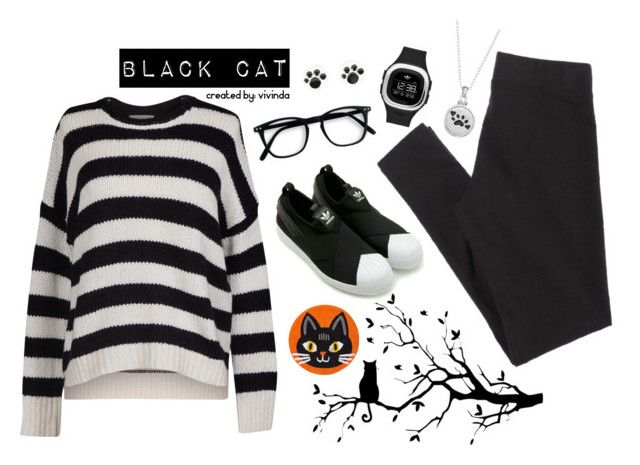 """""""BLACK CAT STYLE"""" by vivin-da on Polyvore featuring Velvet by Graham & Spencer, adidas Originals, American Eagle Outfitters and Sentimental Expressions"""