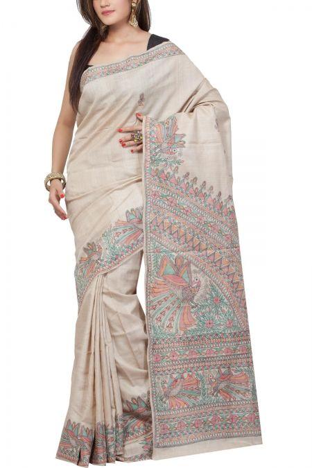 Natural Tussar Hand Penned Madhubani Tussar Silk Saree
