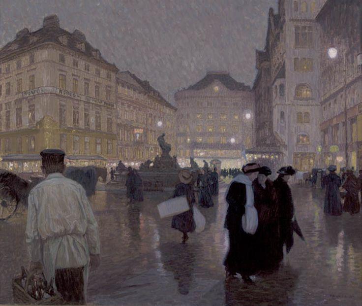 Neuer Markt am Abend by Ferdinand Kruis, 1914.