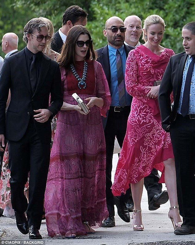 Anne Hathaway and Emily Blunt attend pal Jessica Chastain's wedding #dailymail