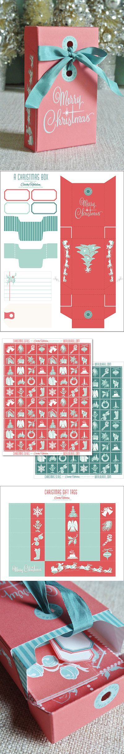 Printable Christmas Collection - Box template, Tags, Labels, bookmarks, envelope seals, labels, gift tags, etc.