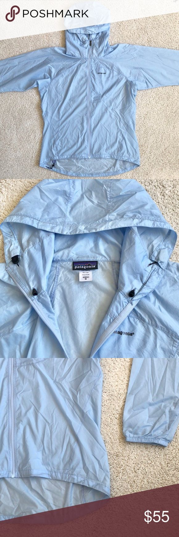 Patagonia Women's Houdini Jacket Patagonia Houdini jacket  Women's Medium Baby blue 💧💨 Featherweight 100% nylon ripstop with a Durable Water Repellent finish Zippered chest pocket converts to stuffsack with a reinforced carabiner clip-in loop Hood adjusts in one pull, won't block peripheral vision Durable half-elastic cuffs; drawcord hem Reflective logo on left chest and center-back neck Pet and smoke free home Excellent used condition - like new! Patagonia Jackets & Coats