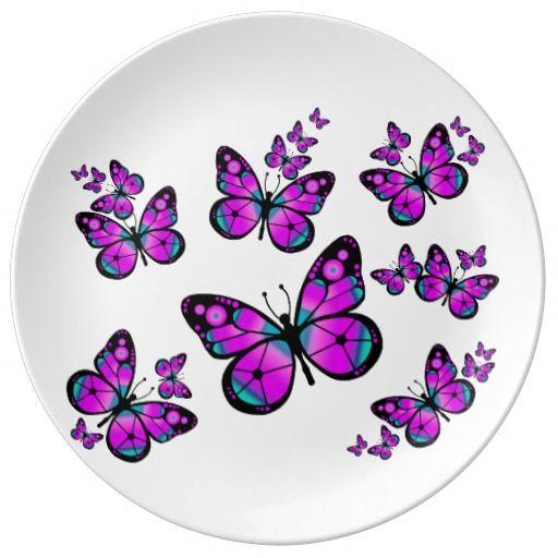 #ButterfliesPlate #Plate Pink Butterflies Porcelain Plates. $45.95