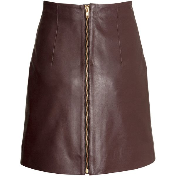 H&M Leather skirt (2190935 BYR) ❤ liked on Polyvore featuring skirts, mini skirts, red skater skirt, leather skater skirt, red skirt, red leather mini skirt and short skirts