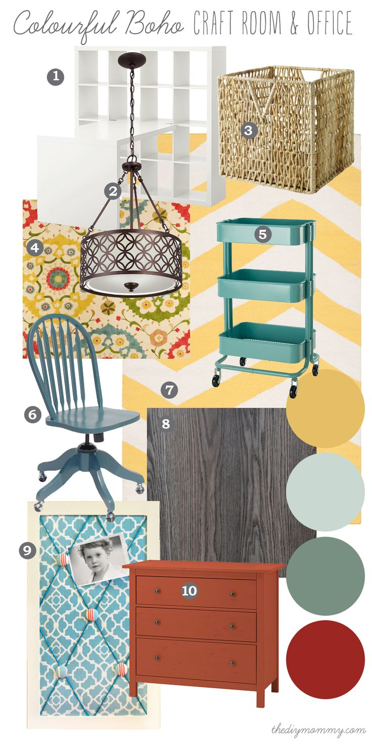 Mood Board: Colourful Boho Craft Room & Office - Our DIY House. Bright shades of yellow, turquoise and red with metal and wood accents and tons of storage for paperwork and craft supplies.