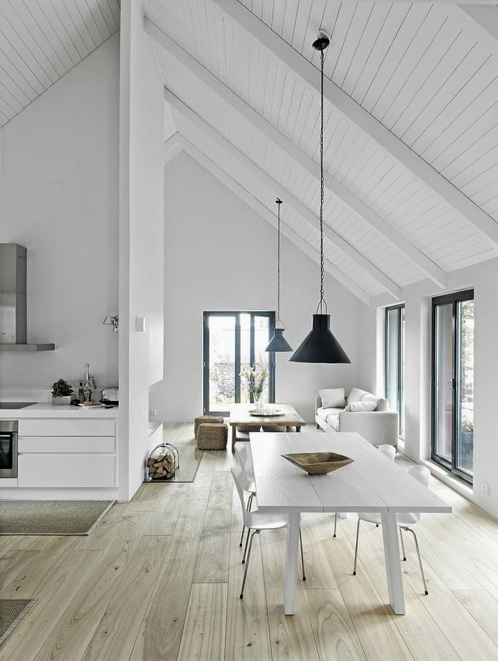 clean lines, white walls, neutral color palette and wood floors | The Design Chaser