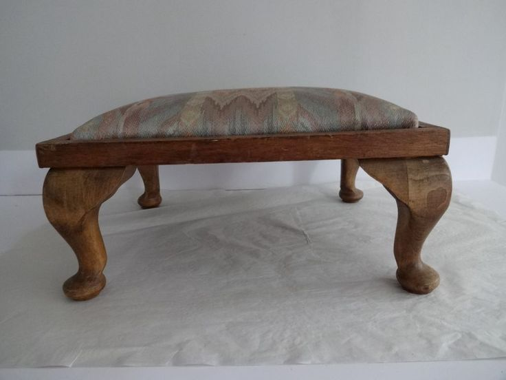 Vintage Foot Stool/Seat-oak wooden frame Queen Anne style legs-Fabric cover in Home, Furniture & DIY, Furniture, Ottomans & Footstools | eBay!