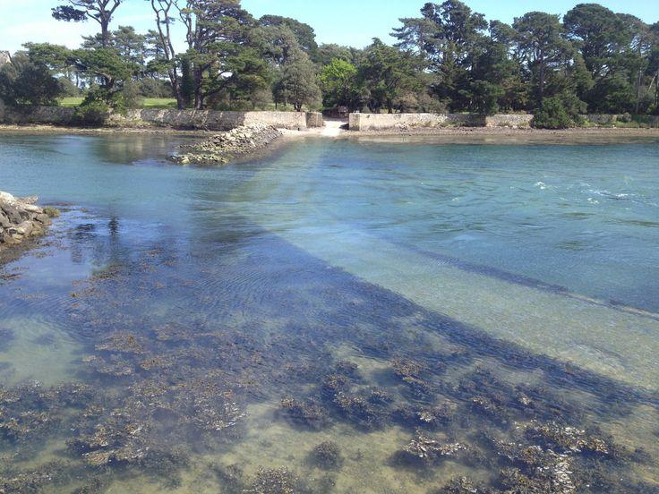 Passage de l île Berder a marée haute, Larmor Baden, Morbihan    Brittany