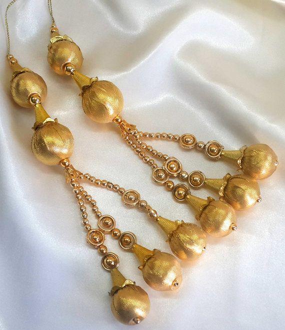 Golden Color Beaded #Tassel Lehenga #Sari Blouse by Shoppingover