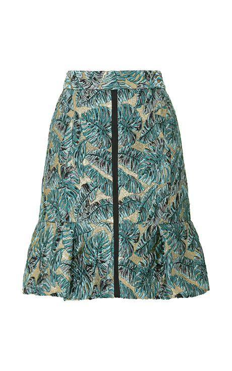 Shop Metallic Leaf Jacquard Skirt by J. Mendel for Preorder on Moda Operandi