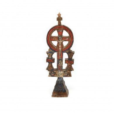 Troiță miniaturală maramureșană, datând din 1869, dăruită de comunitatea moților europarlamentarului Corneliu Vadim Tudor