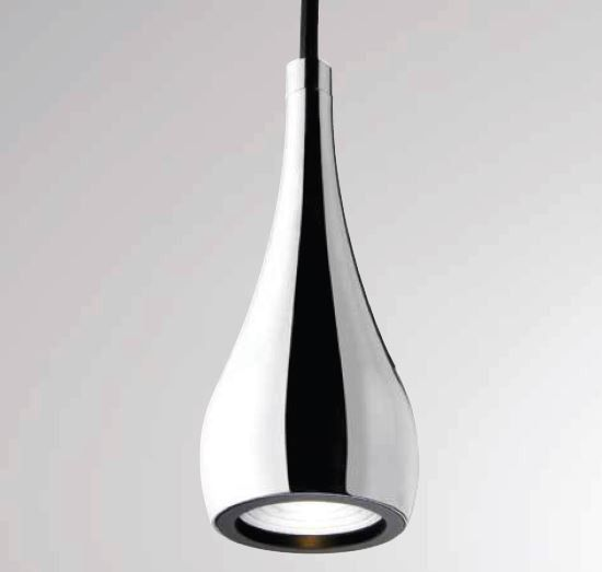 Decorative LED suspension made of milled aluminium Chrome. #Drop by #Moltoluce