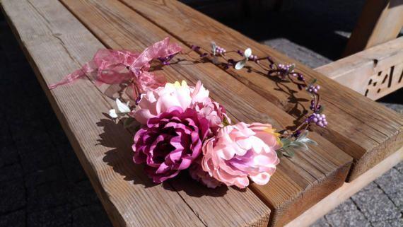 Pink wedding crown Flower headband Wedding by PrettyVintages