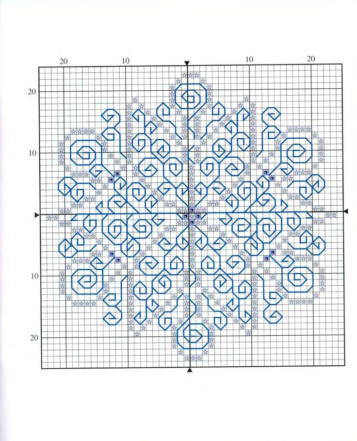 Lovely pattern for a X-stitch and Blackwork snowflake - would be wonderful in sparkly yarn...