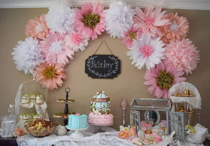Beautiful backdrop at a shabby chic flowers birthday party! See more party ideas at CatchMyParty.com!