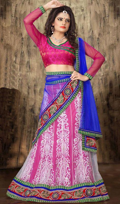 Pink and Off White Embroidered Net Lehenga Choli Price: Usa Dollar $135, British UK Pound £80, Euro100, Canada CA$147 , Indian Rs7290.