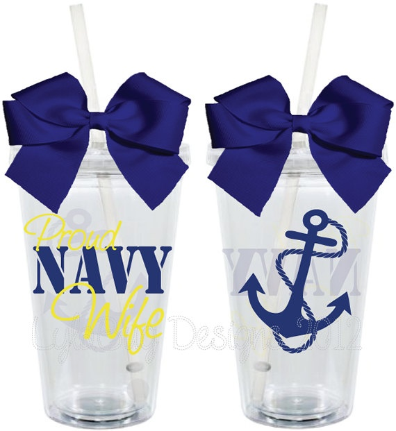 Someday Proud Navy Wife Wifey Mom Girlfriend 16oz Personalized Acrylic Tumbler. $15.00, via Etsy.