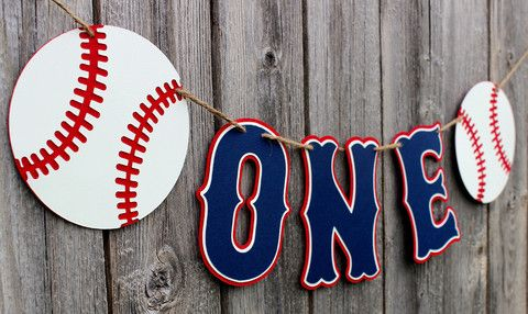 "Baseball ""One"" High Chair Banner"