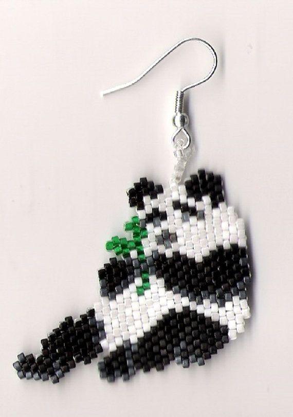 hand beaded Black and White Panda Bear dangle earrings by jjsims43