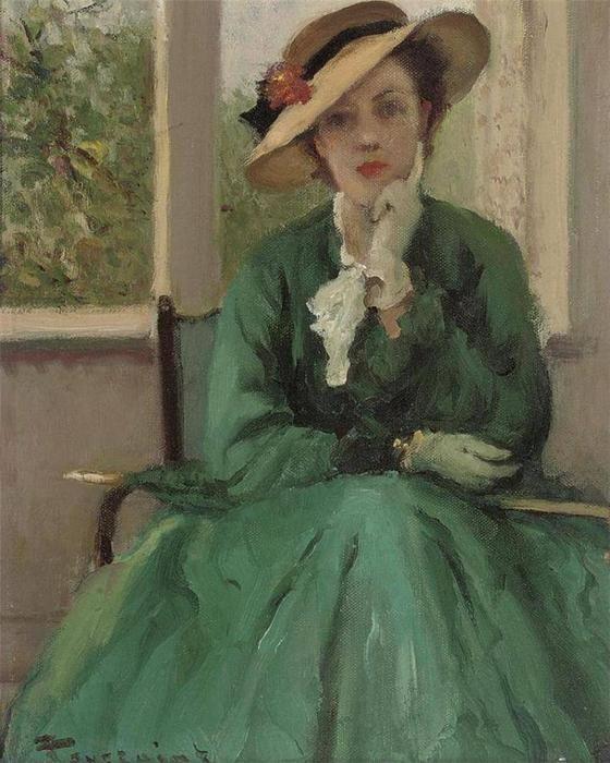 La robe verte de Fernand Toussaint (1873-1956, Belgium)