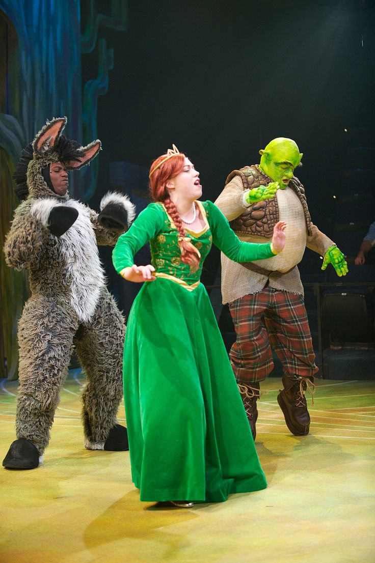 Lamar Jefferson (as Donkey), Elizabeth Telford (as Princess Fiona) and John Maclay (as Shrek) in First Stage's Shrek The Musical (Theater for Young Audiences adaptation)