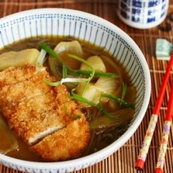 Japanese Curry Soba topped with crispy deep-fried chicken - it's easier than it looks! And so very delicious!