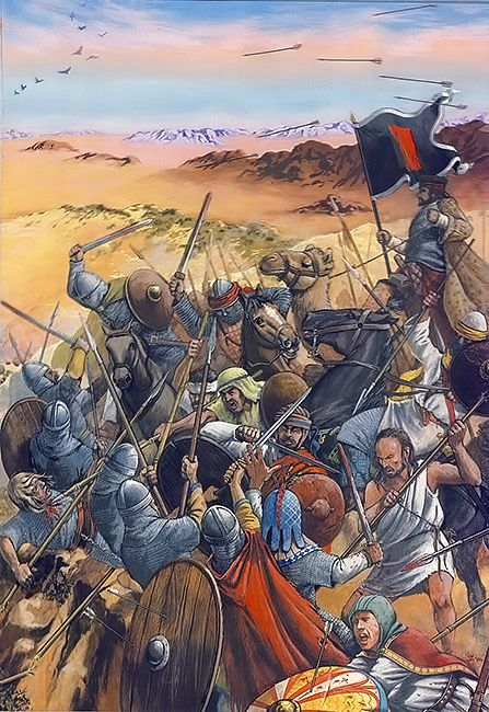 The Battle of Yarmouk was a major battle between the army of the Byzantine Empire and the Muslim Arab forces of the Rashidun Caliphate. The battle consisted of a series of engagements that lasted for six days in August 636, near the Yarmouk River, along what today are the borders of Syria–Jordan and Syria–Israel, east of the Sea of Galilee. The result of the battle was a complete Muslim victory which ended Byzantine rule in Syria.