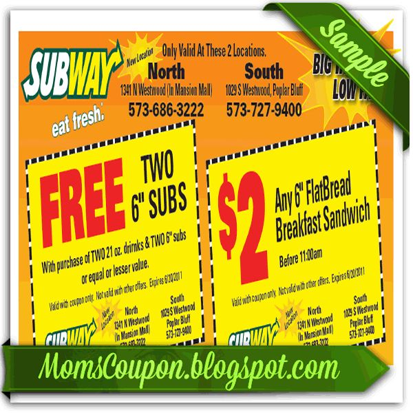 Subway 10 off coupon code online February 2015