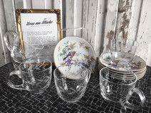Vintage Teetassen & Untersetzer mit Vogelmotiv